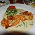Shrimp and Scallops with Spinach Flan